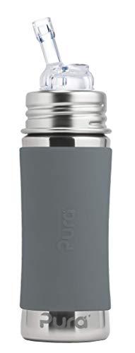 Strohhalmflasche 300ml/325ml Edelstahlflasche mit einem Trinkhalmaufsatz. Inklusive Travelcover (Schutzhaube) aus Silikon in Grau