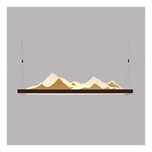 Boblen Nuevo Moderno Restaurante Chino araña, led cálido de montaña acrílico, lámpara de Techo Colgante 3D, luz de Cuello de Paisaje Zen Simple (Color : Brown+Gold, Type : 48.4'+63W+25W)