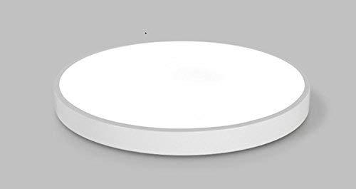 YANQING Exquisita Delgado Dormitorio salón Circular Simple lámpara de Techo llevada (Blanco + luz Blanca, D23CM-12W), Tamaño Nombre: D50cm-36W, Color: Blanco + luz Blanca