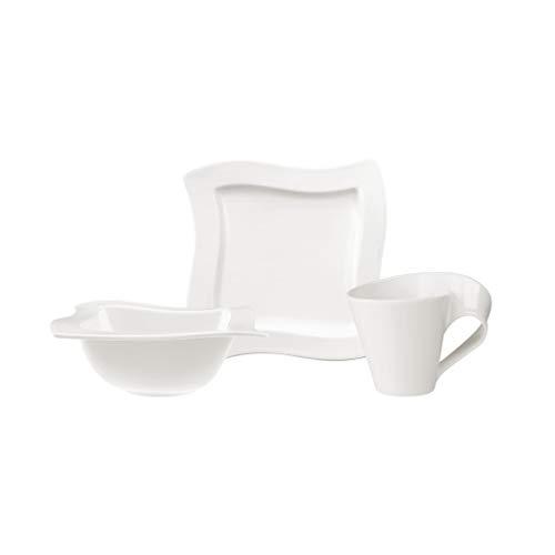 Villeroy & Boch NewWave Ensemble petit-déjeuner pour 2 personnes, 6 pièces, Porcelaine Premium, Blanc