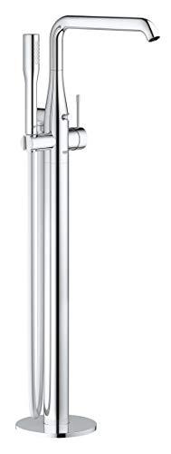 Grohe Essence - Grifo de bañera con sistema de montaje en suelo, teleducha Grohe Euphoria Cosmopolitan Stick, ángulo de giro ajustable a 0°, 150° o 360°, aireador Grohe AquaGuide (23491001)