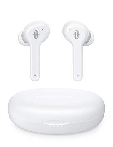 TaoTronics - Cuffie Bluetooth senza fili, Bluetooth 5.0 IPX8, 30 ore di autonomia con microfono, modalità single/Twin Mode tipo C, ricarica rapida, colore: Bianco