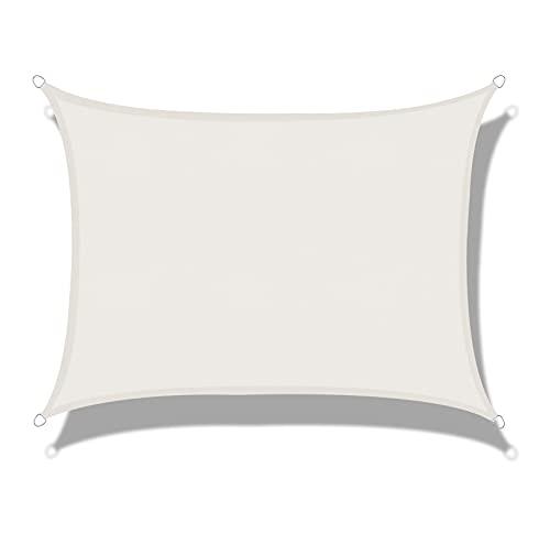 LOVE STORY Toldo Vela de Sombra Impermeable(PES) Rectangular 2×4m Crema Protección UV para Terraza Camping Jardín al Aire Libre