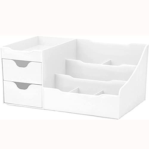 SMOOTHLY Caja de Almacenamiento de cosméticos de diseño Limpio con cajones, Caja de Almacenamiento de cosméticos, organización (Blanco)