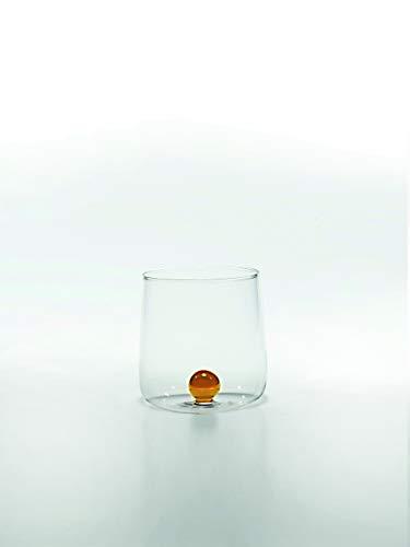 Zafferano Bilia Glasbecher - Handgemachtes Transparent Glas, Verziert mit bunter Glaskugel im Inneren, cl 44 h 90mm d 88mm - Set 6 Stück - goldgelb