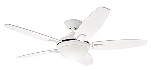 Hunter Fan 50613 A, Deckenventilator Contempo - Wendeflügel/Eiche hell mit Leuchte, Stahl, 52 W, E27, weiß, 132 x 132 x 36.02 cm