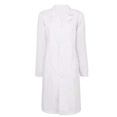 Bata Médica para Hombres De Laboratorio Bata Bata Modernas Casual De Laboratorio Unisex Medicina Bata Blanca Ropa De Trabajo Algodón (Color : Damen White, One Size : L)