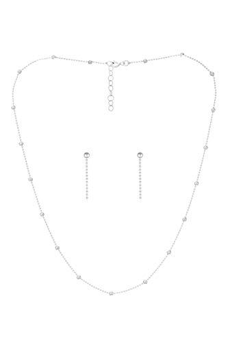 Córdoba Jewels | Conjunto de Gargantilla y Pendientes en Plata de Ley 925 con diseño Bolitas Silver