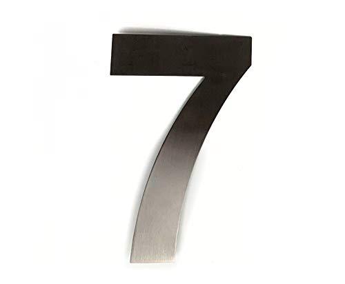 ASC Hausnummer 7 (Sieben), gebürsteter Edelstahl, 15 cm hoch