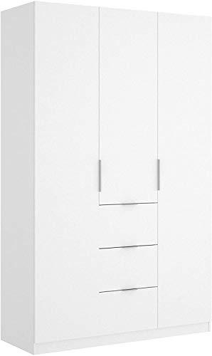 Mobelcenter - Armario 3 Puertas 3 Contenedores Blanco - Armario Matrimonio 204 cm de Altura - Acabado Color Blanco Brillo - Medidas: Ancho: 135 cm x Fondo: 52 cm x Alto: 204 cm - (1050)