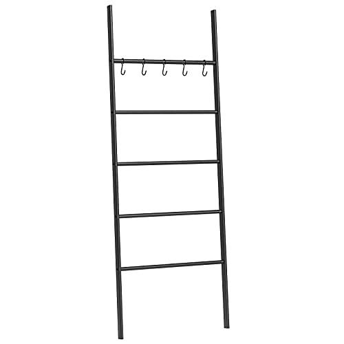 HOOBRO Blanket Ladder, 5-Tier Leaning Ladder Towel Rack, Free Standing Bath Storage Organization with 5 Hooks, 22.8 Inch Wide Towel Display Rack for Bathroom, Bedroom, Laundry Room, Black BK62CJ01