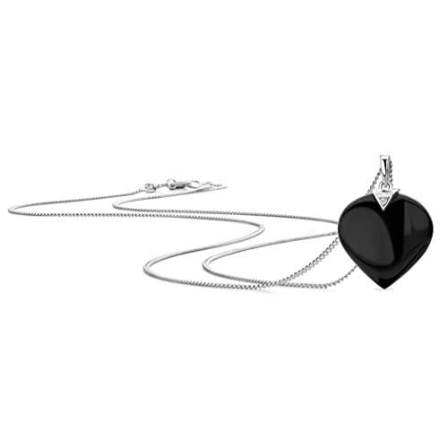 Orovi Collar para mujer de oro blanco con colgante de corazón y piedra natalicia de ágata negra, cadena de oro 375 de 9 quilates