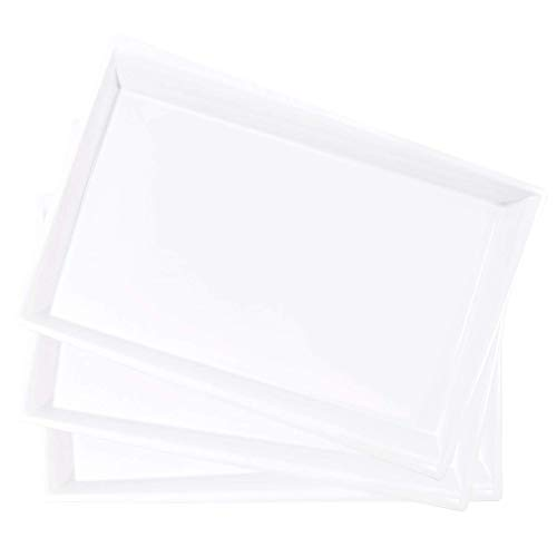 LLSF 12 Pack White Plastic Serving Tray 15 x 10 Rectangular Irregularly Food Trays Disposable Serving Platters Perfect for Buffet Parties