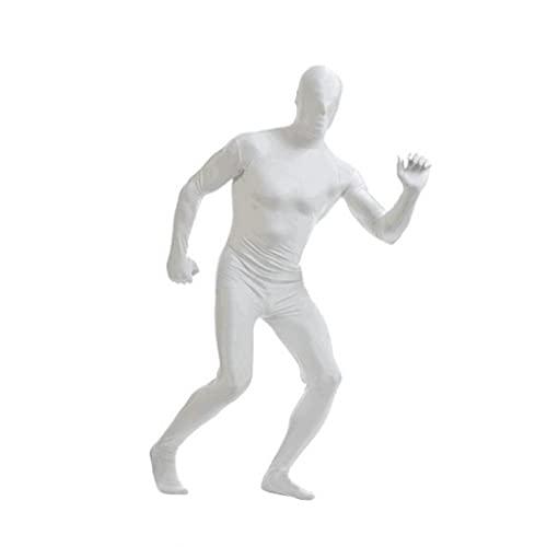 NIDONE Spandex Bodysuit Cuerpo Completo Zentai Skin-Tight Spandex Traje Unisex Unitard Adulto Trajes de Cuerpo Completo Lycra Vestido de Lujo Halloween Mostrar Disfraces para Adultos y niños Blanco L