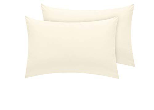Pizuna Luxuriöser Soft-Satin 2er Pack Kissenbezug 70 x 90 cm Neu Elfenbein, 400 Fadenzahl Baumwolle Kissenbezüge, 100% Langstapel Baumwolle Kissenbezug (Neu Elfenbein, 70x90 cm)