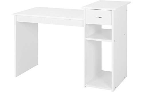 Yaheetech Schreibtisch Computertisch 112 x 50 x 82 cm, Bürotisch mit Schublade, Arbeitstisch 2 Ablage aus MDF, PC Tisch in Weiß