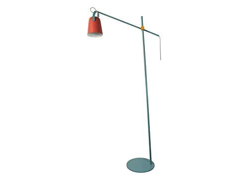 FISURA Lámpara de pie de suelo Led Grande Modelo Chloe Naranja y Azul Multicolor 150 cm Estilo Retro Colores Mate Diseño Moderno [Clase de eficiencia energética A++]