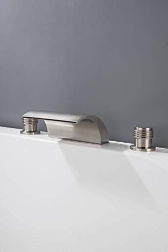 Waterfall Roman Tub Faucet Brushed Nickel Deck Mount Three Hole Double Handle with Tub Filler Faucet for High Flow