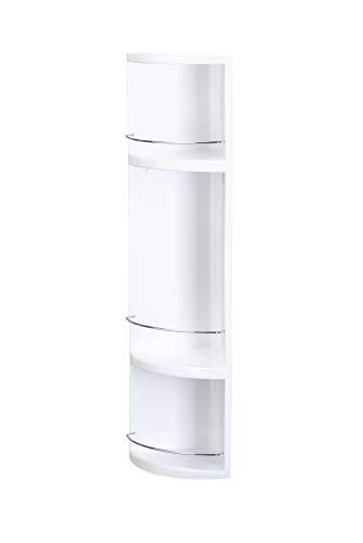 Croydex Compact Badezimmer-Eckregal 3-stöckig, aus Kunststoff, mit Abgießlöchern, 70x16x16cm, Weiß