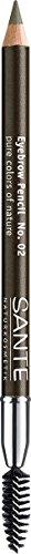 SANTE Naturkosmetik Eyebrow Pencils No. 02 brown, Zum Ausfüllen der Augenbrauen, Mit Brauenbürstchen, Karminfrei, Natural Make-up, 1,4 g