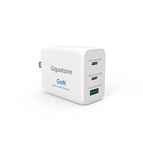 Gigastone 窒化ガリウム(GaN)採用急速充電器 最大65W 3ポート出力(2 Type-C +1 USB-A) iPhone/iPad Pro/MacBook Pro/AirPods/Nintendo Switch/Android/ノートPC/タブレット対応