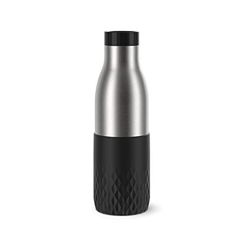 Emsa N31111 Bludrop Sleeve Trinkflasche   0,7 Liter   100 % dicht   Quick-Press Verschluss   Ergonomischer 360° Trinkgenuss  12h warm, 24h kühl   spülmaschinenfest   Edelstahl   Schwarz