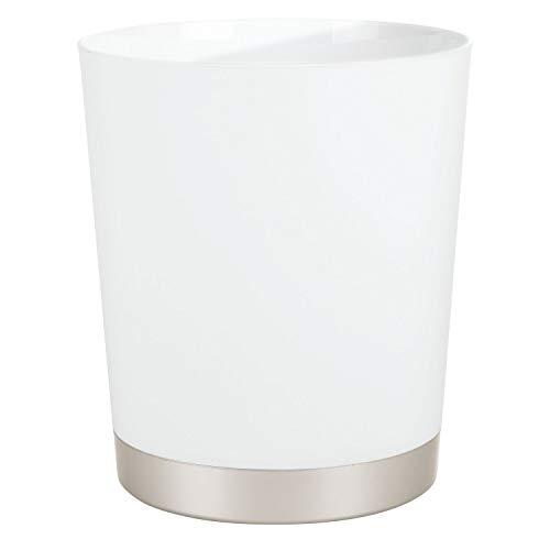 Price comparison product image iDesign Sedona Rubbish Bin For Bathroom,  Kitchen,  Home Office - Satin White / Nickel