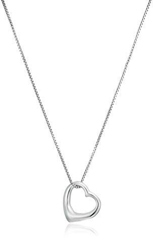 Amazon Essentials Sterling Silver Open Heart Pendant Necklace, Small, 18'