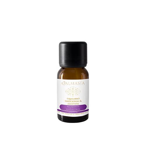 Aceite Esencial - Equilibrio Emocional con Amatista - 15 ml - Protege y Nutre la Piel - Efecto Relajante y Antiestrés - Con Gema Amatista - 100% Natural - No Testado en Animales - Almasía