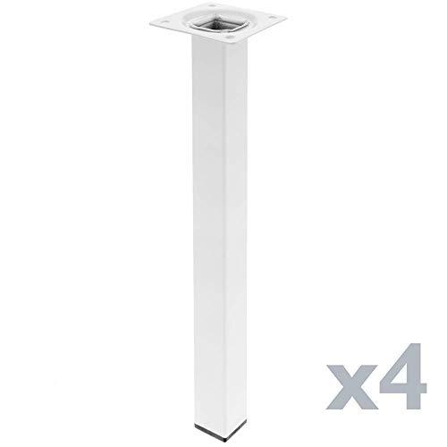 PrimeMatik - Pies Cuadrados para Mesa y Mueble. Patas en Acero Blancas de 40cm 4-Pack