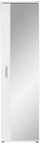 HOMEXPERTS Spiegel-Schrank JUSTUS / Eintüriger Hochschrank mit Spiegeltür / Weiß / Griffe silber-farben / Tür variabel rechts oder links / 5 Fächer / Garderoben-Schrank / 49x196x30cm (BxHxT)