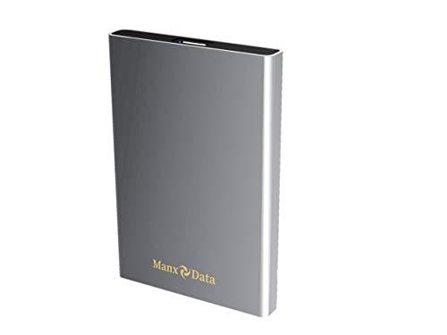 ManxData - Hard disk esterno portatile USB 3.0, 1 TB, per PC, Mac, Smart TV, Xbox One e PS4, colore: Argento