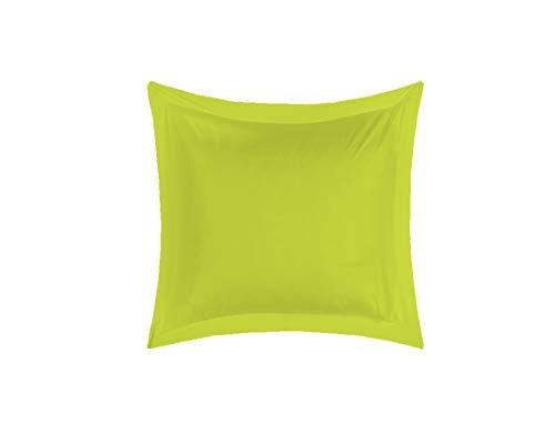 Universs-Decor - Funda de Almohada (65 x 65 cm, Volante Plano piqué, 100% algodón, 57 Hilos/cm2), Anis, 1 Taie d'oreiller 65 x 65 Volant plat piqué