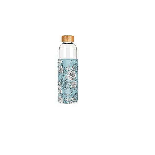 Label - Tartera de cristal y funda de silicona con tapón de bambú, diseño de flores, 750 ml, altura: 25,5 cm