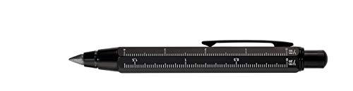 TROIKA ZIMMERMANN 5,6 BLEISTIFT- PEN56/BK -Fallminen-Stift (5,6 mm HB-Mine) - Zentimeter-/Zoll-Lineal - 1:20m/1:50 m Skala - Anspitzer - Messing - lackiert - schwarz - das Original von TROIKA