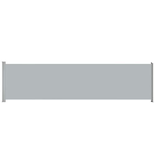 Lasamot Toldo Lateral de Fibra de poliéster Gris, toldo Lateral retráctil para Exteriores, 600 x 160 cm, Estructura de Acero con Recubrimiento de Polvo