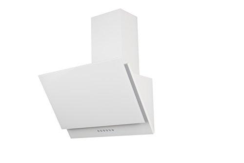 respekta kopffreie Schräghaube Dunstabzugshaube Abzugshaube Wandhaube Glas 60 cm weiß / 3 Leistungstufen / Abluft und Umluft / LED