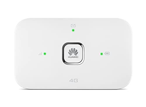 HUAWEI Mobile WiFi E5576 Routeur WiFi Mobile 4G LTE (CAT4) Vitesse de décharge jusqu'à 150 Mbps, Batterie Rechargeable de 1500 mAh, Pas de Configuration nécessaire, WiFi Portable Blanc