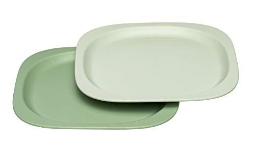 nip Eat Green öko bio Kinder-Teller: Ohne Melamin und BPA, geeignet für Spülmaschine und Mikrowelle, 2 Stück, grün