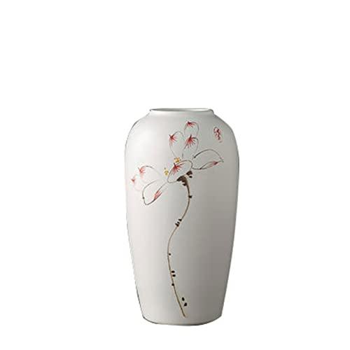 XU.HOME-vases Jarrón de cerámica vintage, pasillo decorativo para sala de estar, jarrón blanco, vintage, multifunción (tamaño: 16 x 30,5 cm)