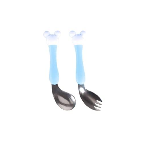 Baby Spory Spoon Set 2pcs Blue Kids Cutlery Acero Inoxidable Alimentación Cuchara Travel...
