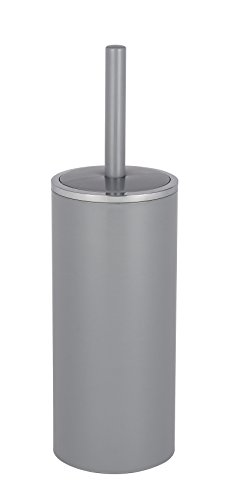 WENKO WC-Garnitur Inca Grey - geschlossener WC-Bürstenhalter, Kunststoff (ABS), 10.5 x 34 x 10.5 cm, Grau