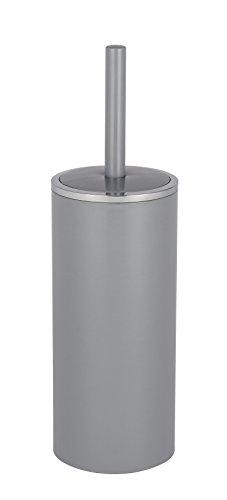 Wenko WC-Garnitur Inca - geschlossener WC-Bürstenhalter, Ø 10,5 x 34 cm, grau