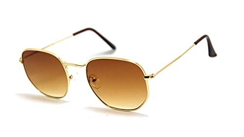 Óculos De Sol Vintage Feminino Masculino Hexagonal Metal Desenho: Hexagonal/Marrom-Degrade; Tamanho: Médio