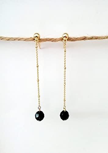 Pendientes largos negros de cristal checo piedra facetada con cadena de aleación inoxidable con detalles dorada - Regalo - Para mujer