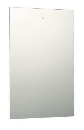 45 x 30cm Rectangle Bathroom Mirror with Drilled Holes & Chrome Cap Wall Hanging Fixing Kit
