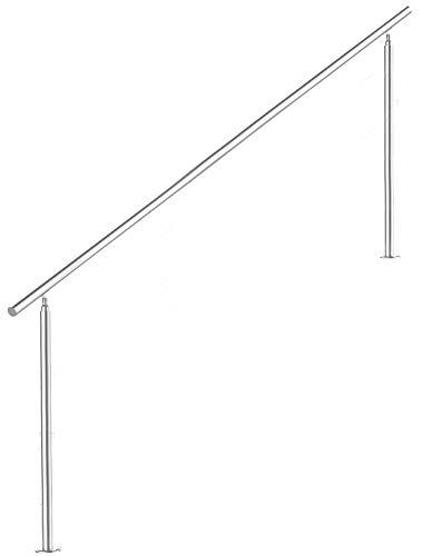 V2Aox Treppengeländer Edelstahl Handlauf Geländer Balkongeländer Aufmontage Treppe, Anzahl Streben:0, Länge:180 cm