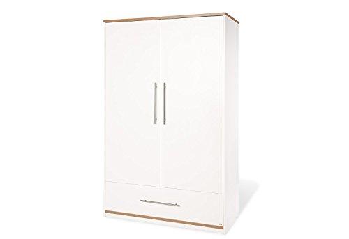 Pinolino Kleiderschrank Tuula, moderner, 2-türiger Kleiderschrank mit Schubkasten, weiß/Nussbaum mit Echtholzstruktur, Maße 115 x 58 x 185 cm (Art.-Nr. 14 00 12)