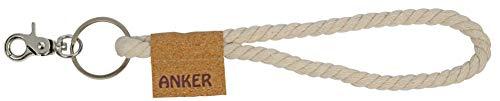 happyROSS Kordel-Schlaufe Anker | maritimer Schlüsselanhänger mit Tau-Kordel und Kork-Fähnchen | Schlüsselband aus Baumwolle | maritimer Look, Schiffe, Hafen, Meer