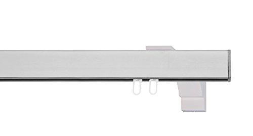 indeko BERN, eckige Gardinenschiene mit Innenlauf aus Aluminium auf Maß, 1-Lauf, edelstahloptik, Komplettset mit Zubehör